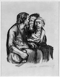 Käthe Kollwitz (German, 1867-1945). Two Chatting Women with Two Children (Zwei schwatzende Frauen mit zwei Kindern), 1930. Lithograph on heavy wove paper, Image: 11 5/8 x 10 1/8 in. (29.5 x 25.7 cm). Brooklyn Museum, Ella C. Woodward Memorial Fund, 42.389. © artist or artist's estate