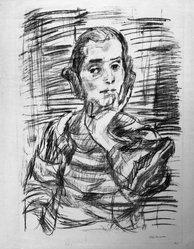 Oskar Kokoschka (Austrian, 1886-1980). The Concert III (Ruth I) (Das Konzert III [Ruth I]), 1921. Transfer lithograph on heavy laid paper, Image: 27 1/8 x 19 5/8 in. (68.9 x 49.8 cm). Brooklyn Museum, Frederick Loeser Fund, 42.51. © artist or artist's estate
