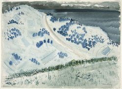 Milton Avery (American, 1885-1965). Road to the Sea, ca. 1938. Transparent watercolor with small touches of opaque watercolor over charcoal on off-white, moderately thick, rough-textured wove paper, 22 1/2 x 30 5/8 in. (57.2 x 77.8 cm). Brooklyn Museum, Dick S. Ramsay Fund, 43.104. © artist or artist's estate