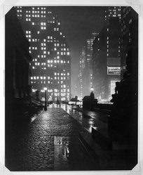 John W. Doscher (American). Evening Mist- Fifth Avenue, ca. 1943. Photograph Brooklyn Museum, Gift of the artist, 43.14. © artist or artist's estate