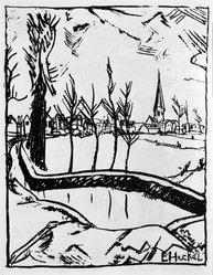 Erich Heckel (German, 1883-1970). Near Ghent (Bei Ghent), 1916. Lithograph on wove paper, Image: 10 1/2 x 8 1/8 in. (26.7 x 20.6 cm). Brooklyn Museum, Gift of J. B. Neumann, 43.161.1. © artist or artist's estate