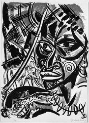 Richard Janthur (German, 1883-1950). Exotic Landscape (Exotische Landschaft), n.d. Color lithograph in green, brown, and black on laid paper, Sheet: 22 x 14 15/16 in. (55.9 x 37.9 cm). Brooklyn Museum, Gift of J. B. Neumann, 43.161.2. © artist or artist's estate