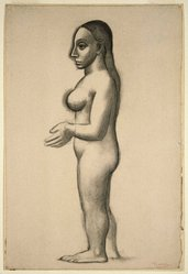 Pablo Picasso (Spanish, 1881-1973). Nude Standing in Profile (Nu debout en profil), 1906. Charcoal on laid paper, sheet: 21 1/8 x 14 1/4 in. (53.7 x 36.2 cm). Brooklyn Museum, Gift of Arthur Wiesenberger, 43.178. © artist or artist's estate