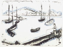Erich Heckel (German, 1883-1970). Harbor (Hafen), 1912. Color lithograph in blue, green, and black on heavy wove paper, Image: 12 5/8 x 17 in. (32.1 x 43.2 cm). Brooklyn Museum, By exchange, 43.182. © artist or artist's estate