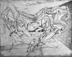 Stanley William Hayter (British, 1901-1988). Combat, 1936. Engraved copper plate on handmade, laid and wove papers, 15 11/16 x 19 5/16 in. (39.9 x 49 cm). Brooklyn Museum, By exchange, 43.238.1. © artist or artist's estate