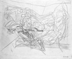 Stanley William Hayter (British, 1901-1988). Combat, 1936. Drawing in pencil and crayon on wove paper, 15 3/8 x 19 3/16 in. (39 x 48.7 cm). Brooklyn Museum, By exchange, 43.238.3. © artist or artist's estate