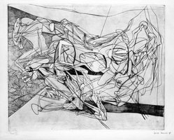 Stanley William Hayter (British, 1901-1988). Combat, Sixth State, November 15, 1936. Engraving, Other (Plate): 15 3/4 x 19 3/8in. (40 x 49.2cm). Brooklyn Museum, By exchange, 43.238.9. © artist or artist's estate