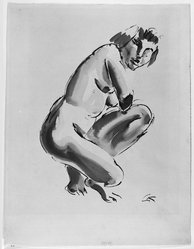 Georg Kolbe (German, 1877-1947). Nude, Half Kneeling, n.d. Sepia ink and wash on wove paper, Sheet: 19 x 14 3/8 in. (48.3 x 36.5 cm). Brooklyn Museum, Carll H. de Silver Fund, 44.125.4. © artist or artist's estate