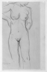 Charles Despiau (French, 1874-1946). Nude Figure, Standing. Graphite on wove paper, 14 1/8 x 9 1/8 in. Brooklyn Museum, Carll H. de Silver Fund, 44.125.5. © artist or artist's estate