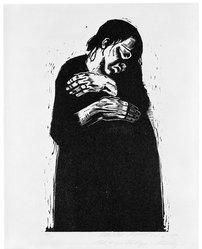 Käthe Kollwitz (German, 1867-1945). The Widow I (Die Witwe I), 1922-1923. Woodcut on heavy Japan paper, Image: 14 1/2 in. (36.8 cm). Brooklyn Museum, Carll H. de Silver Fund, 44.201.4. © artist or artist's estate