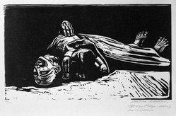 Käthe Kollwitz (German, 1867-1945). The Widow II (Die Witwe II), 1922-1923. Woodcut on heavy Japan paper, Image: 11 13/16 x 20 7/8 in. (30 x 53 cm). Brooklyn Museum, Carll H. de Silver Fund, 44.201.5. © artist or artist's estate
