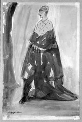 Carl Sprinchorn (American, 1887-1971). Standing Woman, 20th century. Watercolor, Image: 11 1/4 x 6 3/4 in. (28.5 x 17.1 cm). Brooklyn Museum, Gift of Ettie Stettheimer, 45.116. © artist or artist's estate