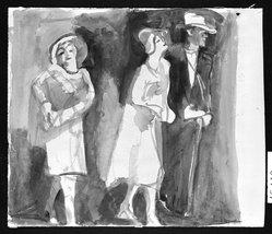 Carl Sprinchorn (American, 1887-1971). Three Figures, 20th century. Watercolor, Image: 11 7/8 x 11 7/16 in. (30.2 x 29 cm). Brooklyn Museum, Gift of Ettie Stettheimer, 45.119. © artist or artist's estate