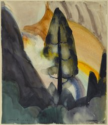 William Zorach (American, born Lithuania, 1887-1966). Tree - Yosemite, 1920. Watercolor over graphite on white, moderately thick, moderately to rough textured wove paper mounted to woodpulp board, Paper: 15 1/4 x 13 1/8 in. (38.7 x 33.3 cm). Brooklyn Museum, Gift of Ettie Stettheimer, 45.123. © artist or artist's estate
