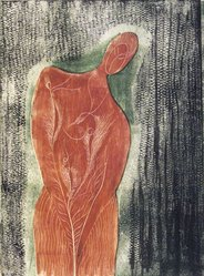 Ian Hugo (American, 1898-1985). Tree Woman, June 1945. Wood engraving in color, Sheet: 9 x 7 in. (22.9 x 17.8 cm). Brooklyn Museum, Gift of W. S. Heiman