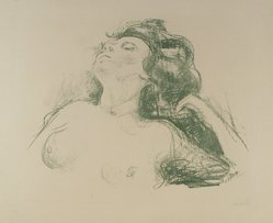 Edvard Munch (Norwegian, 1863-1944). Reclining Half Nude II (Liegender Halbakt II), 1920. Lithograph in green on wove paper, Image: 17 1/8 x 22 1/16 in. (43.5 x 56 cm). Brooklyn Museum, Carll H. de Silver Fund, 46.129. © artist or artist's estate