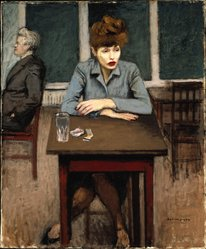Raphael Soyer (American, born Russia, 1899-1987). Cafe Scene, ca. 1940. Oil on canvas, 24 x 20in. (61 x 50.8cm). Brooklyn Museum, Gift of James N. Rosenberg, 46.15. © Estate of Raphael Soyer