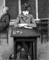 Raphael Soyer (American, born Russia, 1899-1987). Cafe Scene, ca. 1940. Oil on canvas, 24 x 20in. (61 x 50.8cm). Brooklyn Museum, Gift of James N. Rosenberg, 46.15. © Estate of Raphael Soyer