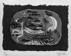 Georges Braque (French, 1882-1963). Phaeton (Chariot I) (Phaeton [Char I]), 1945. Color lithograph on wove Arches paper, Image: 12 x 17 1/8 in. (30.5 x 43.5 cm). Brooklyn Museum, Museum Collection Fund, 46.171. © artist or artist's estate