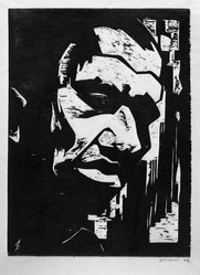 Antonio Frasconi (American, born Argentina, 1919-2013). Negro Head, 1944. Woodcut on wove paper, Image: 13 3/16 x 9 15/16 in. (33.5 x 25.2 cm). Brooklyn Museum, A. Augustus Healy Fund, 46.65.2. © artist or artist's estate