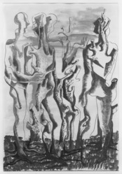 Ossip Zadkine (French, born Russia, 1890-1967). Human Forest (Forêt humaine), 1946. Watercolor on paper, Sheet: 25 x 17 1/4 in. (63.5 x 43.8 cm). Brooklyn Museum, Museum Collection Fund, 47.111. © artist or artist's estate