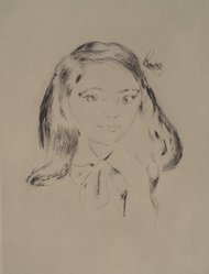 Edvard Munch (Norwegian, 1863-1944). Portrait of a Girl (Daughter of Bruno Cassirer) (Mädchenbildnis [Tochter Br. C.]), 1906. Drypoint on thick wove paper, Image (Plate): 15 x 11 1/8 in. (38.1 x 28.3 cm). Brooklyn Museum, Gift of John B. Turner, 47.137.5. © artist or artist's estate
