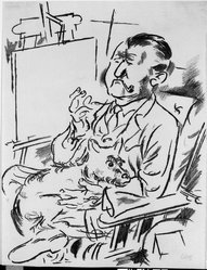 George Grosz (American, born Germany, 1893-1959). Self-Portrait with Dog in Front of the Easel (Selbstbildnis mit Hund vor der Staffelei), 1926. Lithograph on laid paper, Image: 16 1/16 x 12 in. (40.8 x 30.5 cm). Brooklyn Museum, Dick S. Ramsay Fund, 47.187.1. © artist or artist's estate