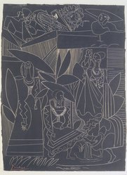 Pablo Picasso (Spanish, 1881-1973). David and Bathsheba, 1947. Lithograph on heavy wove paper, 25 3/8 x 18 7/8 in. (64.5 x 48 cm). Brooklyn Museum, Frank L. Babbott Fund, 47.187.3. © artist or artist's estate