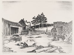 John Muench (American, 1914-1993). Maine Backyard, 1947. Lithograph on paper, image: 8 7/16 x 11 9/16 in. (21.5 x 29.3 cm). Brooklyn Museum, Dick S. Ramsay Fund, 47.54. © artist or artist's estate