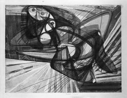 Stanley William Hayter (British, 1901-1988). Unstable Woman, 1947. Engraving, soft-ground etching on heavy Japan paper, 14 7/8 x 19 1/2 in. (37.8 x 49.5 cm). Brooklyn Museum, Gift of Samuel Golden, 47.94.8. © artist or artist's estate