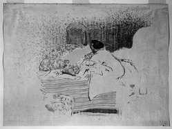 Édouard Vuillard (French, 1868-1940). La Jeune Mere, The Birth of Annette, ca. 1899. Lithograph on loose China paper, Image: 16 x 19 7/8 in. (40.6 x 50.5 cm). Brooklyn Museum, A. Augustus Healy Fund, 48.101.4. © artist or artist's estate
