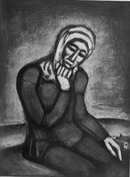 Georges Rouault (French, 1871-1958). Woman Seated with Chin in Hand, 1917. Etching, aquatint on wove paper, 23 x 17 5/16 in. (58.4 x 44 cm). Brooklyn Museum, A. Augustus Healy Fund, 48.136.2. © artist or artist's estate