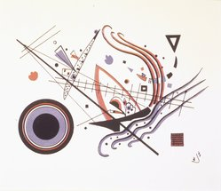 "Wassily Kandinsky (Russian, 1866-1944). Lithograph ""Blue"" (Lithographie ""Blau""), 1922. Color lithograph in red, blue, and black on wove paper, Image: 8 1/4 x 6 1/8 in. (21 x 15.6 cm). Brooklyn Museum, Gift of J. B. Neumann, 48.172.2. © artist or artist's estate"