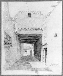 Edwin Howland Blashfield (American, 1848-1936). El Manshah, n.d. Graphite on paper mounted to paperboard, Sheet: 11 x 9 1/8 in. (27.9 x 23.2 cm). Brooklyn Museum, Gift of John H. Field, 48.217.14a. © artist or artist's estate
