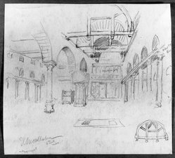 Edwin Howland Blashfield (American, 1848-1936). El Moallanga Church in Old Cairo, n.d. Graphite on paper mounted to paperboard, Sheet: 10 3/4 x 11 15/16 in. (27.3 x 30.3 cm). Brooklyn Museum, Gift of John H. Field, 48.217.4. © artist or artist's estate