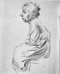George Grosz (American, born Germany, 1893-1959). Old Woman, 1924. Drawing in pencil Brooklyn Museum, Dick S. Ramsay Fund, 48.69.1. © artist or artist's estate