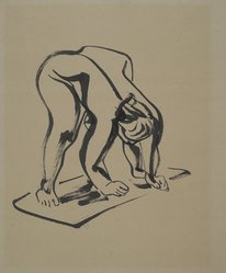 Isamu Noguchi (American, 1904-1988). Bending Figure, 1933. Ink on moderately thick, moderately textured brown wove paper, sheet: 24 1/8 x 20 in. (61.3 x 50.8 cm). Brooklyn Museum, Dick S. Ramsay Fund, 48.69.2. © artist or artist's estate