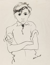 Allela Cornell (American, 1914-1946). Portrait of a Young Boy, n.d. Ink on thin paper, Sheet: 16 3/4 x 13 7/8 in. (42.5 x 35.2 cm). Brooklyn Museum, Dick S. Ramsay Fund, 48.70.1. © artist or artist's estate