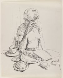 Allela Cornell (American, 1914-1946). Woman Reading at the Breakfast Table, n.d. Pen and ink on paper, Sheet: 16 15/16 x 13 7/8 in. (43 x 35.2 cm). Brooklyn Museum, Dick S. Ramsay Fund, 48.70.2. © artist or artist's estate