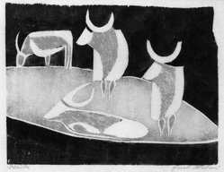 Ewald Mataré (German, 1887-1965). Cattle, 1928. Woodcut, touched with red pastel pencil on course Japan paper, 8 1/16 x 10 3/8 in. (20.5 x 26.4 cm). Brooklyn Museum, Caroline A.L. Pratt Fund, 49.102.2. © artist or artist's estate