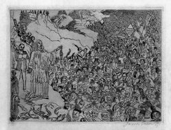 James Ensor (Belgian, 1860-1949). Multiplication des Poissons, 1891. Etching on wove paper, 7 1/16 x 9 3/8 in. (18 x 23.8 cm). Brooklyn Museum, Museum Surplus Fund, 49.103. © artist or artist's estate