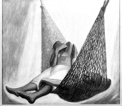 José Chávez Morado (Mexican, 1909-2002). The Hammock, 1949. Watercolor, 21 1/2 x 24 in.  (54.6 x 61.0 cm). Brooklyn Museum, Henry L. Batterman Fund, 49.123. © artist or artist's estate