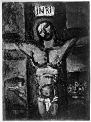Georges Rouault (French, 1871-1958). Crucifixion. Heliogravure oon wove paper, 24 x 17 9/16 in. (61 x 44.6 cm). Brooklyn Museum, Gift of Guy Mayer, 49.151. © artist or artist's estate