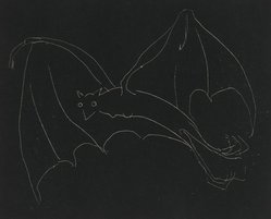 Anne Goldthwaite (American, 1869-1944). Night Series: The Bat, 20th century. Etching, white line on wove paper, Plate: 49 3/16 x 59 13/16 in. (125 x 152 cm). Brooklyn Museum, Gift of the Estate of Anne Goldthwaite, 49.164.12. © artist or artist's estate