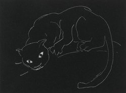 Anne Goldthwaite (American, 1869-1944). Night Series: The Cat, 20th century. Lithograph, white line on wove paper, 4 1/2 x 6 in. (11.4 x 15.2 cm). Brooklyn Museum, Gift of the Estate of Anne Goldthwaite, 49.164.13. © artist or artist's estate