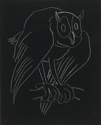 Anne Goldthwaite (American, 1869-1944). Night Series: The Owl, 20th century. Lithograph, white line on woven paper, Plate: 5 9/16 x 4 1/2 in. (14.2 x 11.4 cm). Brooklyn Museum, Gift of the Estate of Anne Goldthwaite, 49.164.16. © artist or artist's estate