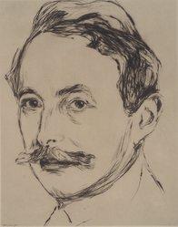 Edvard Munch (Norwegian, 1863-1944). Portrait of Dr. Linde (Porträt Dr. Linde), 1902. Drypoint on Japan paper, Image (Plate): 10 11/16 in. (27.1 cm). Brooklyn Museum, Frank L. Babbott Fund, 49.193. © artist or artist's estate