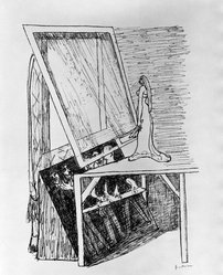 Max Beckmann (German, 1884-1950). Magic Mirror (Zauberspiegel), 1946. Lithograph on wove paper, Image: 12 x 9 in. (30.5 x 22.9 cm). Brooklyn Museum, Gift of Curt Valentin, 49.206.13. © artist or artist's estate