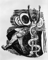 Max Beckmann (German, 1884-1950). The Fall of Man (Sündenfall), 1946. Lithograph on wove paper, Image: 11 7/8 x 10 1/4 in. (30.2 x 26 cm). Brooklyn Museum, Gift of Curt Valentin, 49.206.14. © artist or artist's estate
