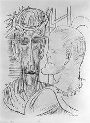 Max Beckmann (German, 1884-1950). Christ and Pilate (Christus und Pilatus), 1946. Lithograph on wove paper, Image: 13 5/8 x 10 5/8 in. (34.6 x 27 cm). Brooklyn Museum, Gift of Curt Valentin, 49.206.15. © artist or artist's estate